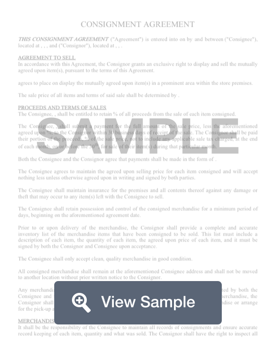 Consignment Contract Template | Consignment Contract Create Download For Free Formswift