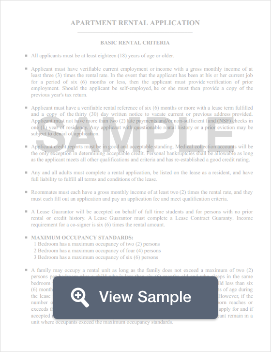 Free Rental Application Template Pdf And Word Forms