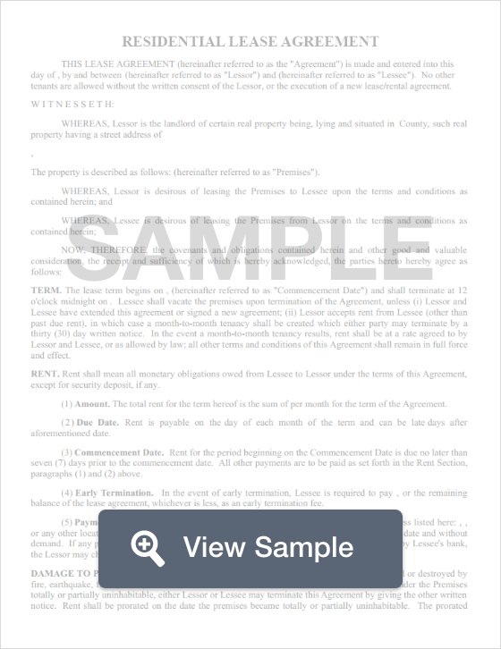Residential Lease Agreement Template Free Standard Lease