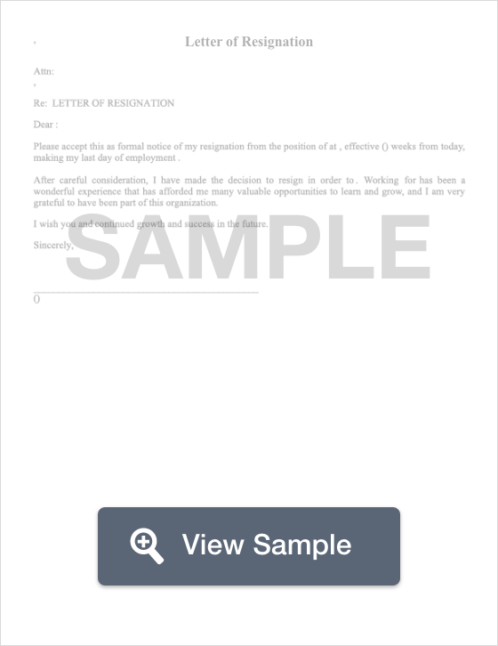 Sample Of Resignation Letter from formswift.com
