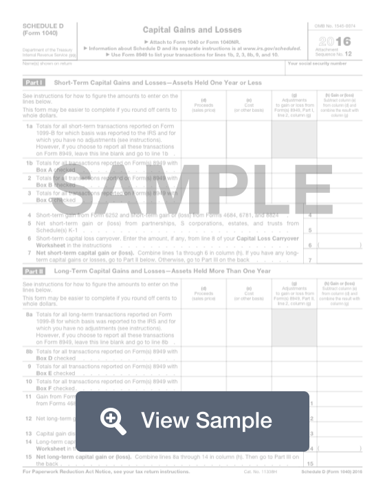 Schedule D (Form 1040) | Free Fillable Form & PDF Sample